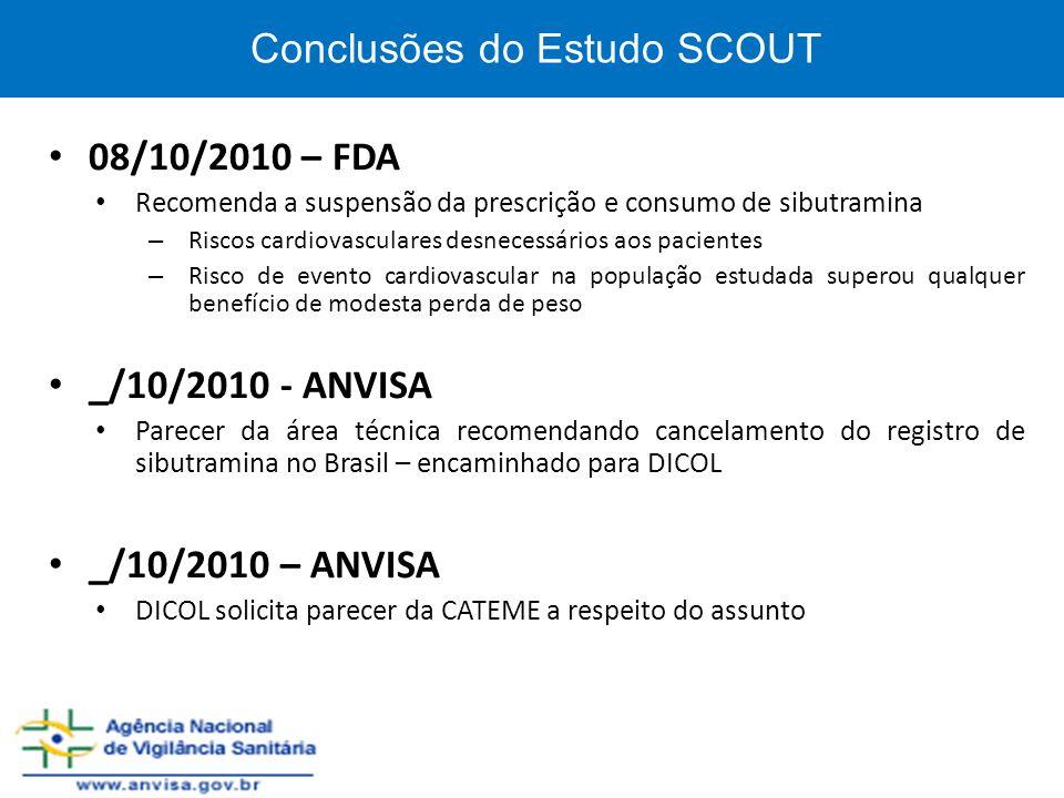 Conclusões do Estudo SCOUT 08/10/2010 – FDA Recomenda a suspensão da prescrição e consumo de sibutramina – Riscos cardiovasculares desnecessários aos
