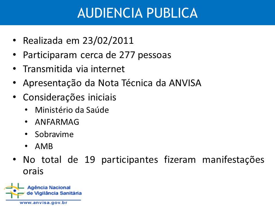 AUDIENCIA PUBLICA Realizada em 23/02/2011 Participaram cerca de 277 pessoas Transmitida via internet Apresentação da Nota Técnica da ANVISA Consideraç