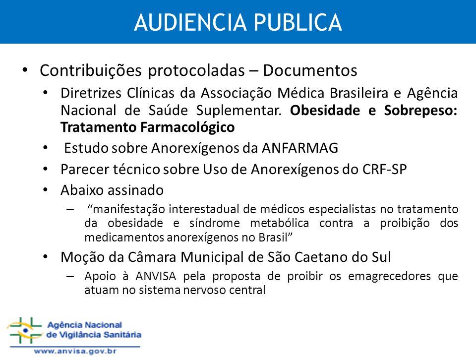 AUDIENCIA PUBLICA Contribuições protocoladas – Documentos Diretrizes Clínicas da Associação Médica Brasileira e Agência Nacional de Saúde Suplementar.