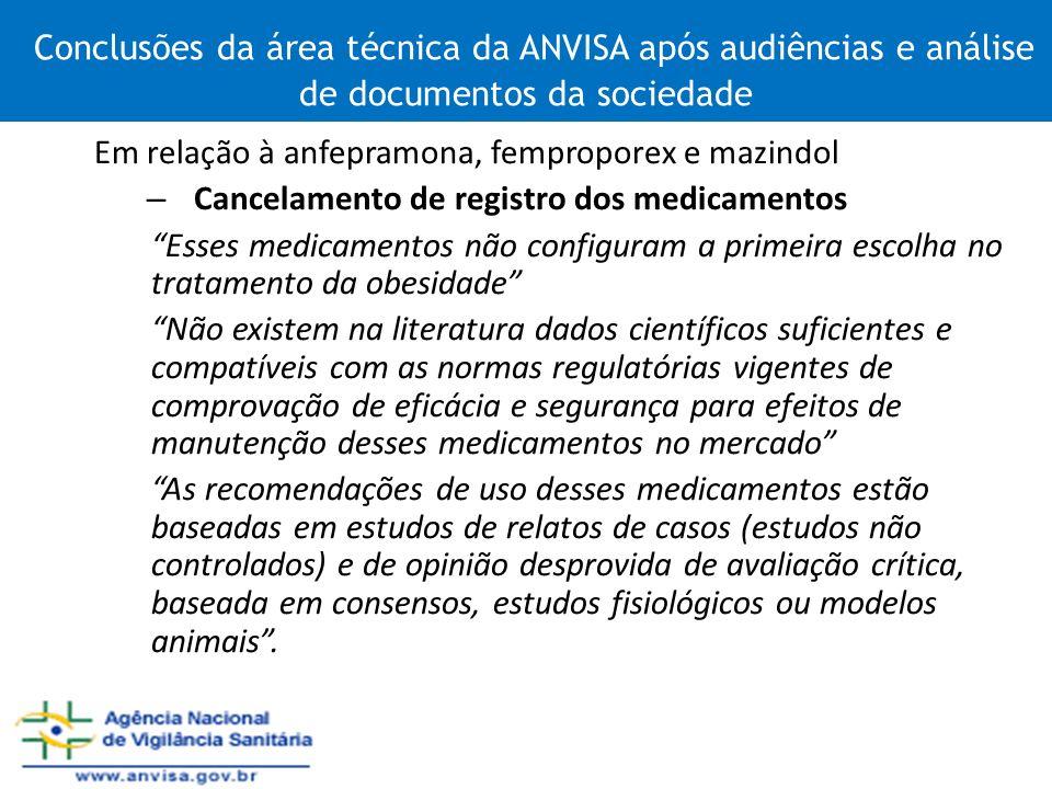 Conclusões da área técnica da ANVISA após audiências e análise de documentos da sociedade Em relação à anfepramona, femproporex e mazindol – Cancelame