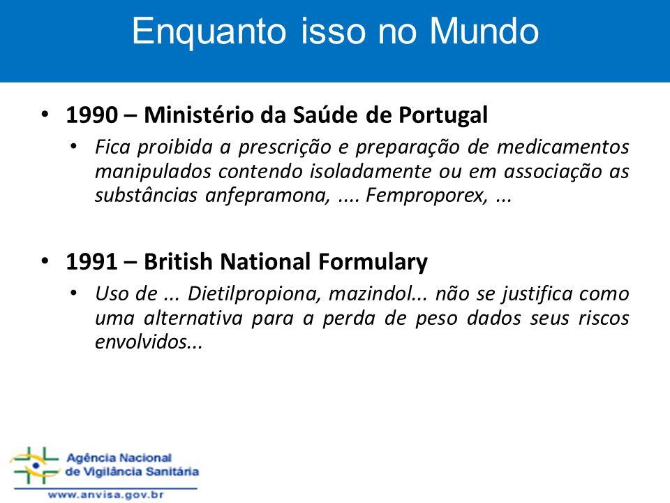 1990 – Ministério da Saúde de Portugal Fica proibida a prescrição e preparação de medicamentos manipulados contendo isoladamente ou em associação as s