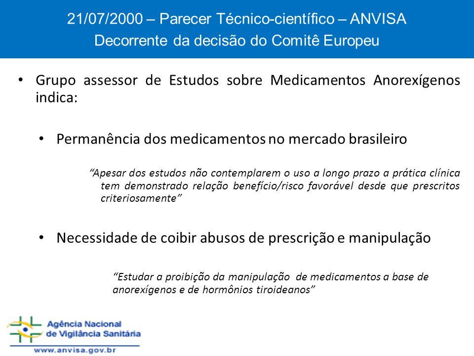 Grupo assessor de Estudos sobre Medicamentos Anorexígenos indica: Permanência dos medicamentos no mercado brasileiro Apesar dos estudos não contemplar