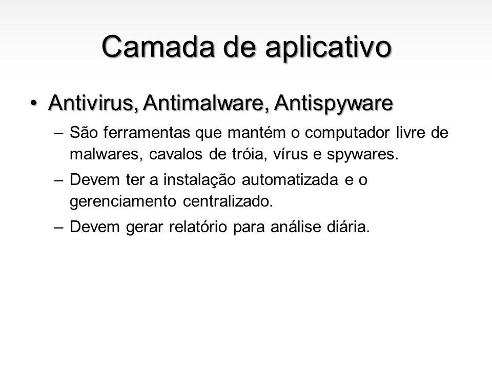 Camada de aplicativo Antivirus, Antimalware, AntispywareAntivirus, Antimalware, Antispyware –São ferramentas que mantém o computador livre de malwares