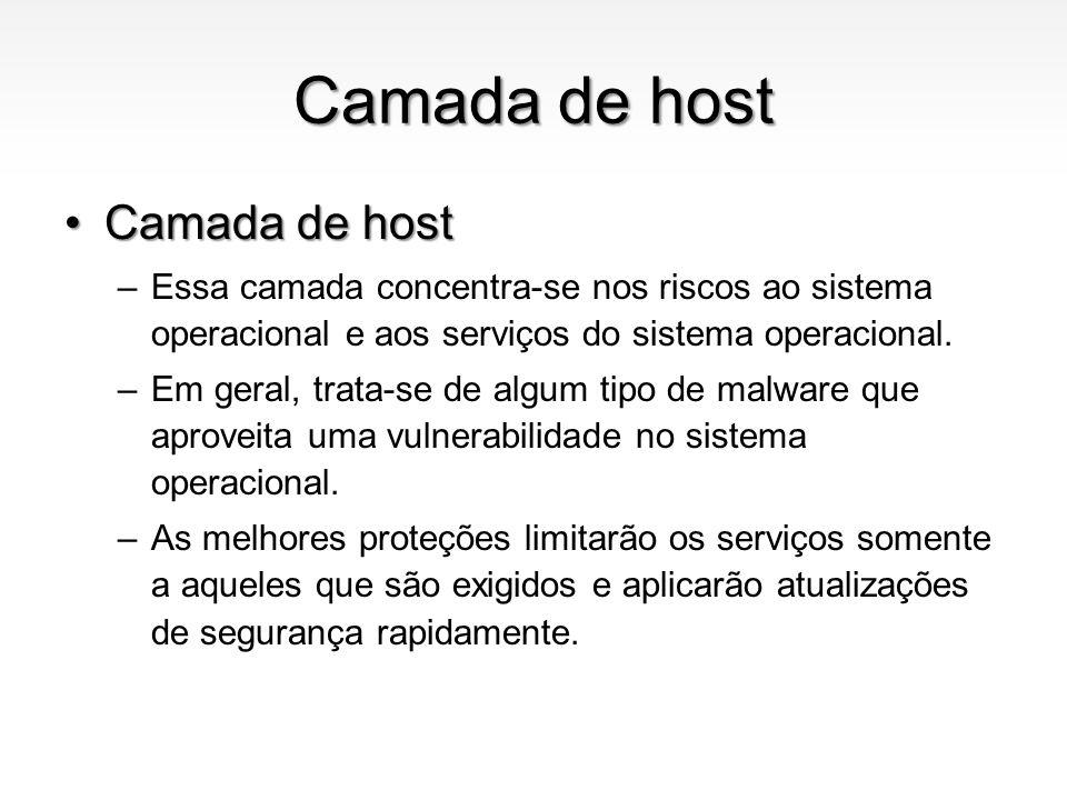 Camada de host Camada de hostCamada de host –Essa camada concentra-se nos riscos ao sistema operacional e aos serviços do sistema operacional. –Em ger