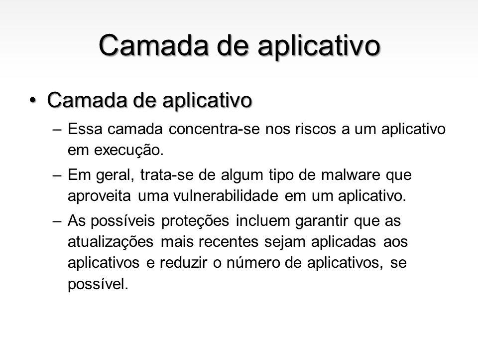 Camada de aplicativo Antivirus, Antimalware, AntispywareAntivirus, Antimalware, Antispyware –São ferramentas que mantém o computador livre de malwares, cavalos de tróia, vírus e spywares.