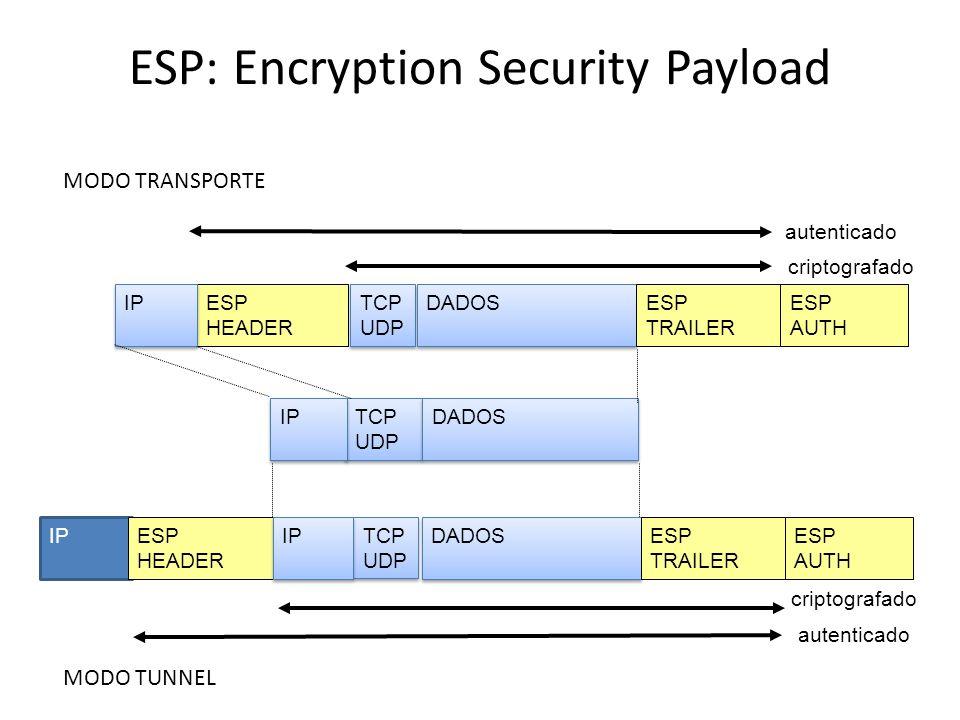 ESP Modo Tunel e Transporte SA INTERNET SA INTERNET SA Conexão IPsec em modo Túnel IPsec ESP Conexão IPsec em modo Transporte IPsec ESP IP