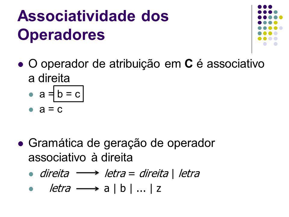 Associatividade dos Operadores O operador de atribuição em C é associativo a direita a = b = c a = c Gramática de geração de operador associativo à direita direitaletra = direita | letra letraa | b |...