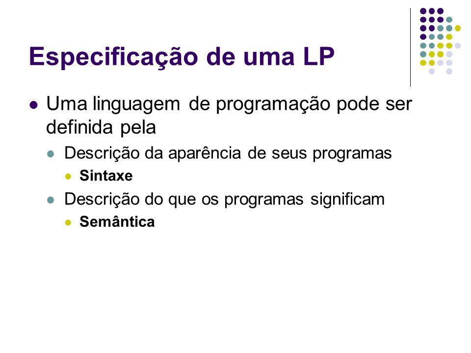 Especificação de uma LP Uma linguagem de programação pode ser definida pela Descrição da aparência de seus programas Sintaxe Descrição do que os programas significam Semântica