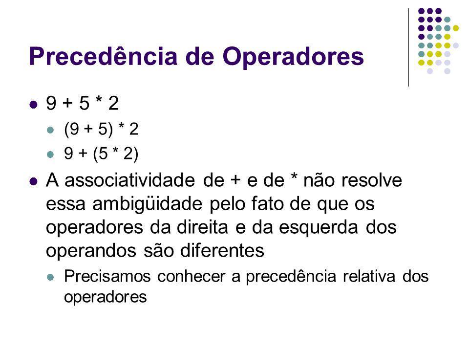 Precedência de Operadores 9 + 5 * 2 (9 + 5) * 2 9 + (5 * 2) A associatividade de + e de * não resolve essa ambigüidade pelo fato de que os operadores da direita e da esquerda dos operandos são diferentes Precisamos conhecer a precedência relativa dos operadores