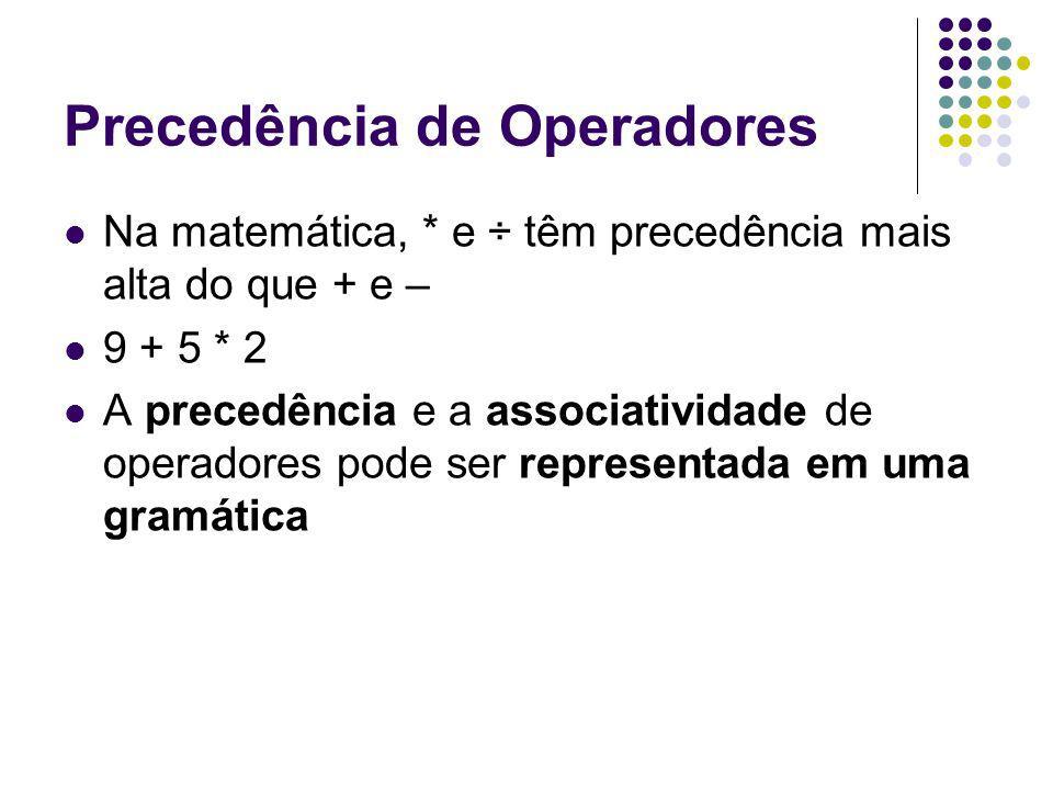 Precedência de Operadores Na matemática, * e ÷ têm precedência mais alta do que + e – 9 + 5 * 2 A precedência e a associatividade de operadores pode ser representada em uma gramática