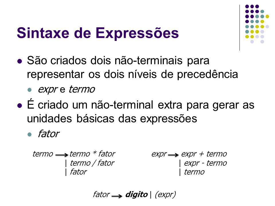 Sintaxe de Expressões São criados dois não-terminais para representar os dois níveis de precedência expr e termo É criado um não-terminal extra para gerar as unidades básicas das expressões fator termo termo * fator | termo / fator | fator expr expr + termo | expr - termo | termo fator digito | (expr)