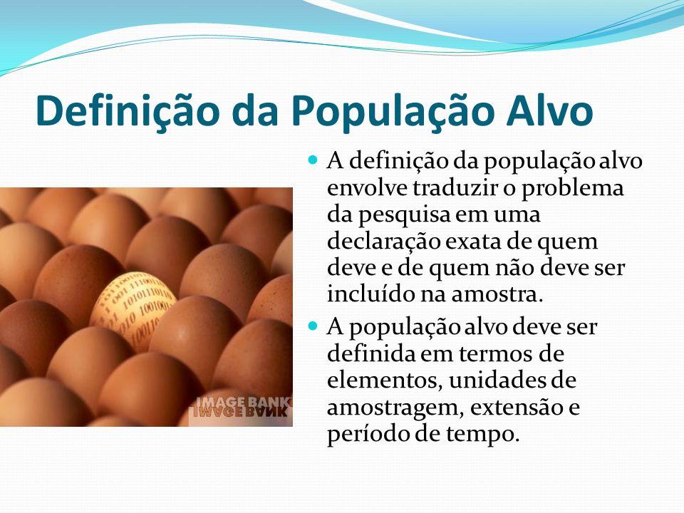 Definição da População Alvo A definição da população alvo envolve traduzir o problema da pesquisa em uma declaração exata de quem deve e de quem não d