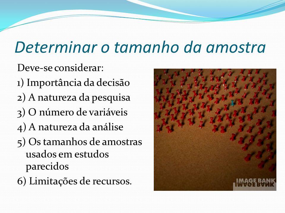 Determinar o tamanho da amostra Deve-se considerar: 1) Importância da decisão 2) A natureza da pesquisa 3) O número de variáveis 4) A natureza da anál