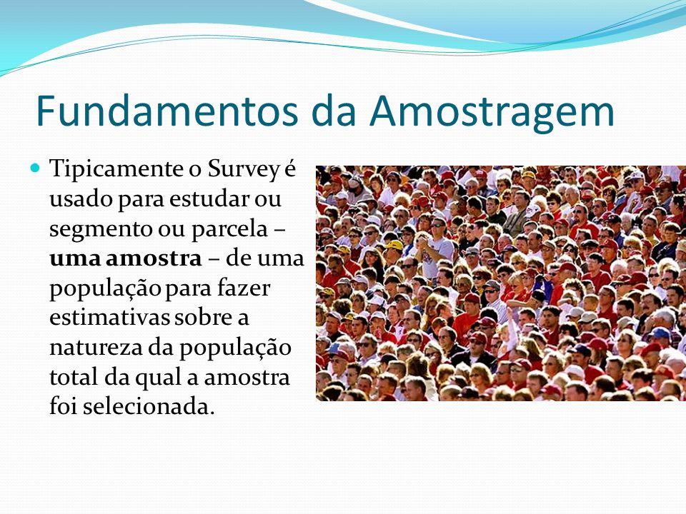 Fundamentos da Amostragem Tipicamente o Survey é usado para estudar ou segmento ou parcela – uma amostra – de uma população para fazer estimativas sob