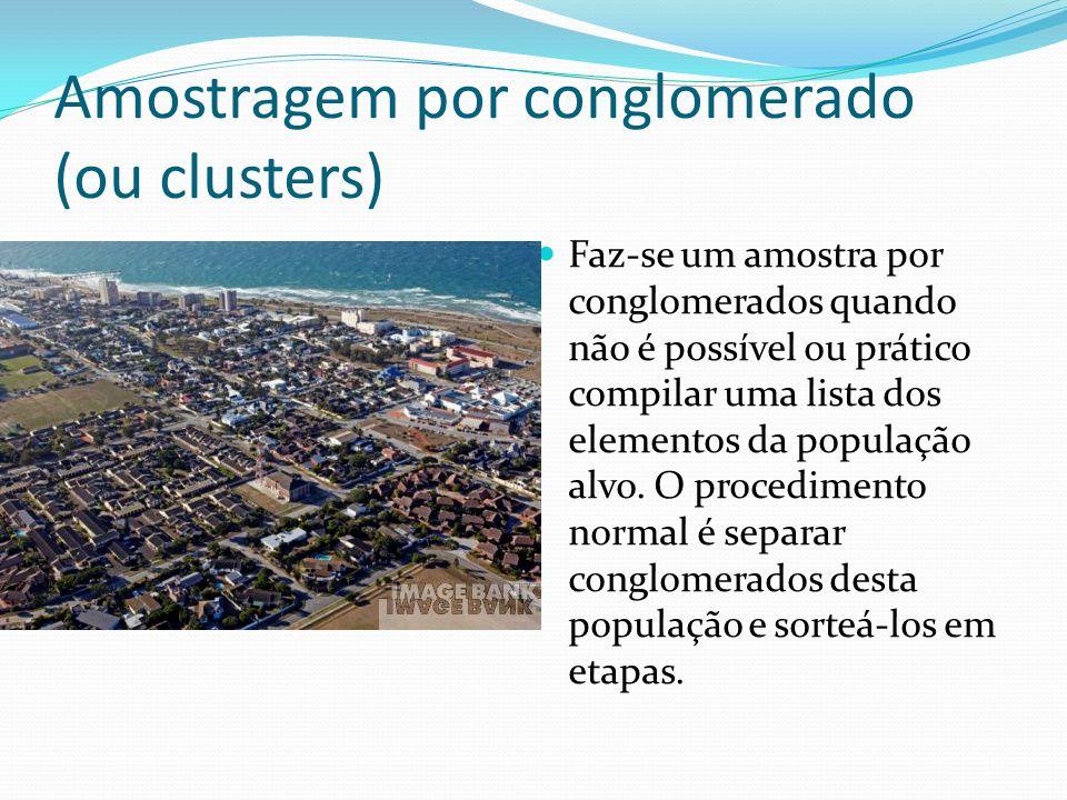 Amostragem por conglomerado (ou clusters) Faz-se um amostra por conglomerados quando não é possível ou prático compilar uma lista dos elementos da pop