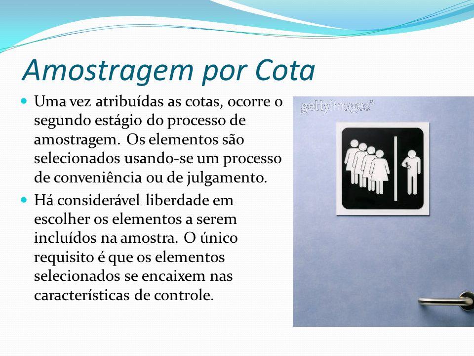 Amostragem por Cota Uma vez atribuídas as cotas, ocorre o segundo estágio do processo de amostragem. Os elementos são selecionados usando-se um proces