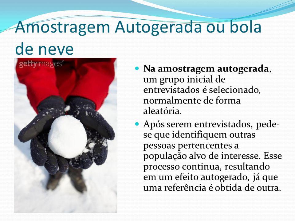 Amostragem Autogerada ou bola de neve Na amostragem autogerada, um grupo inicial de entrevistados é selecionado, normalmente de forma aleatória. Após
