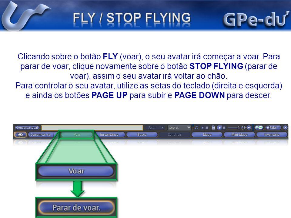 Clicando sobre o botão FLY (voar), o seu avatar irá começar a voar. Para parar de voar, clique novamente sobre o botão STOP FLYING (parar de voar), as