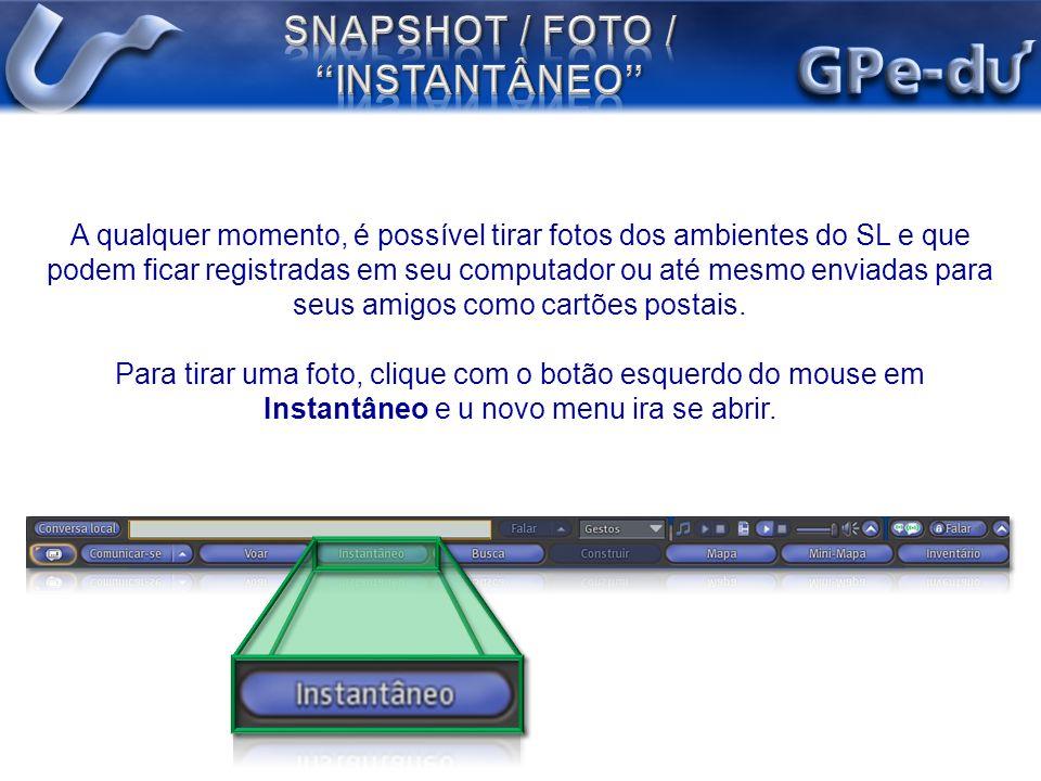 A qualquer momento, é possível tirar fotos dos ambientes do SL e que podem ficar registradas em seu computador ou até mesmo enviadas para seus amigos