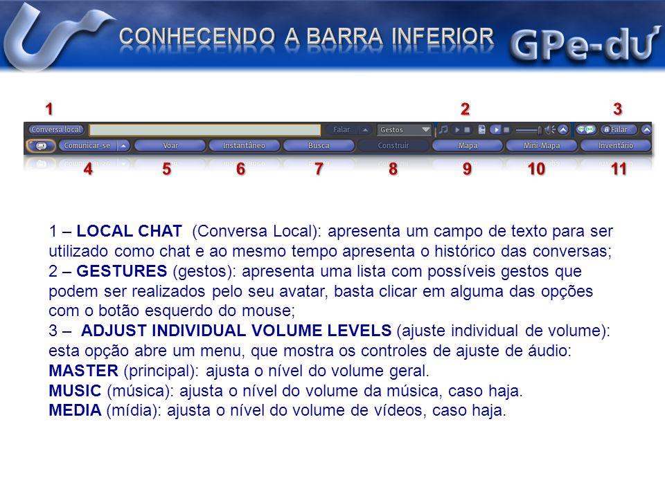 - VOICE (voz): ajusta o nível do volume das vozes ao alcance do seu avatar; - SOUNDS (sons): ajusta o nível do volume de sons (de objetos), caso haja; - AMBIENT (ambiente): ajusta o nível do som ambiente (da ilha), caso haja; - UI (Interface): ajusta o nível dos sons da interface do Second Life.