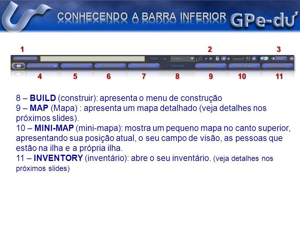 8 – BUILD (construir): apresenta o menu de construção 9 – MAP (Mapa) : apresenta um mapa detalhado (veja detalhes nos próximos slides). 10 – MINI-MAP