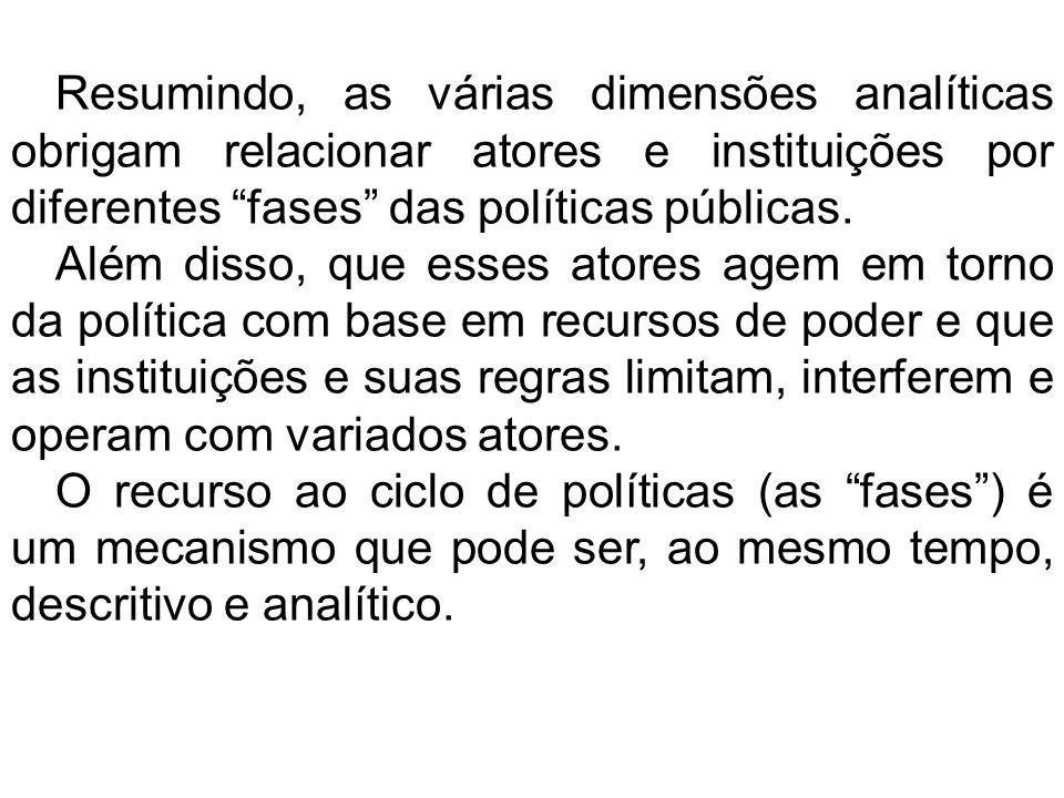 Resumindo, as várias dimensões analíticas obrigam relacionar atores e instituições por diferentes fases das políticas públicas. Além disso, que esses