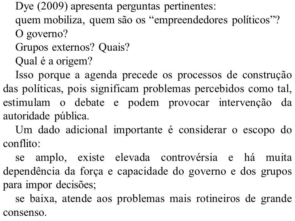 Dye (2009) apresenta perguntas pertinentes: quem mobiliza, quem são os empreendedores políticos? O governo? Grupos externos? Quais? Qual é a origem? I