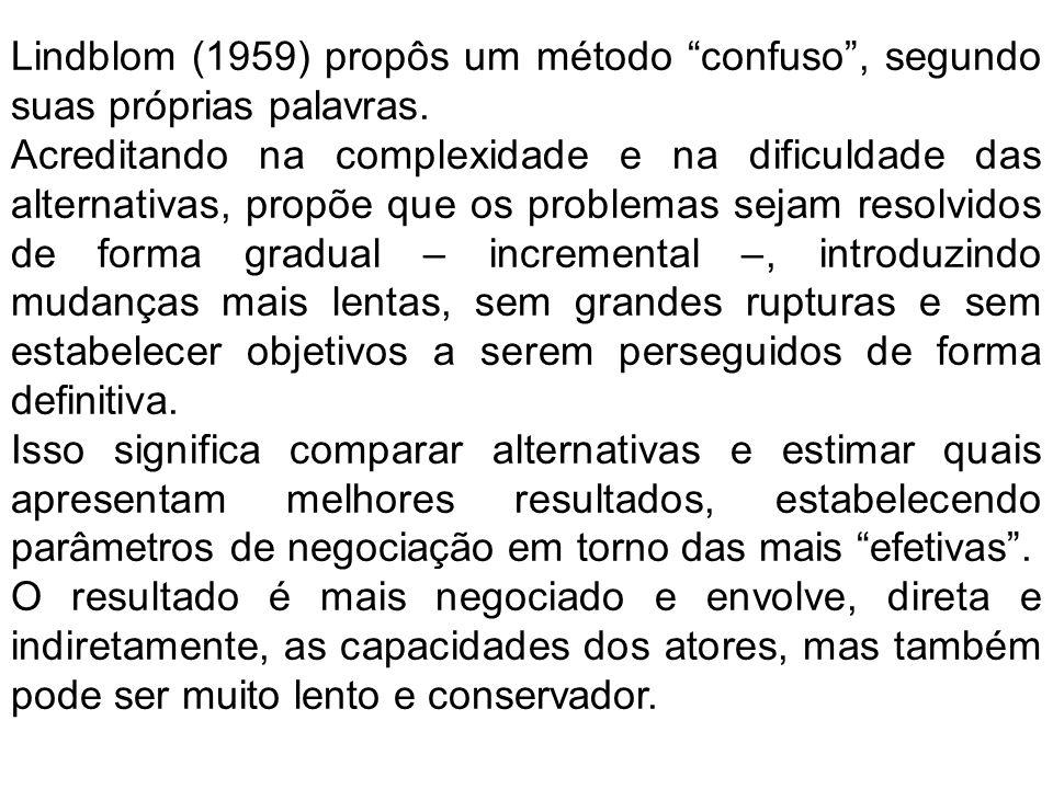 Lindblom (1959) propôs um método confuso, segundo suas próprias palavras. Acreditando na complexidade e na dificuldade das alternativas, propõe que os