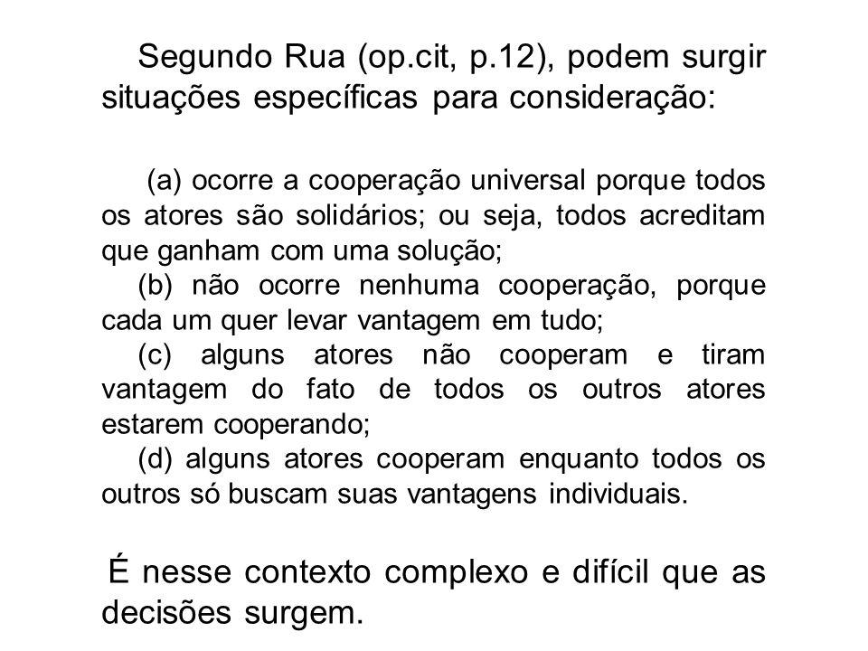 Segundo Rua (op.cit, p.12), podem surgir situações específicas para consideração: (a) ocorre a cooperação universal porque todos os atores são solidár