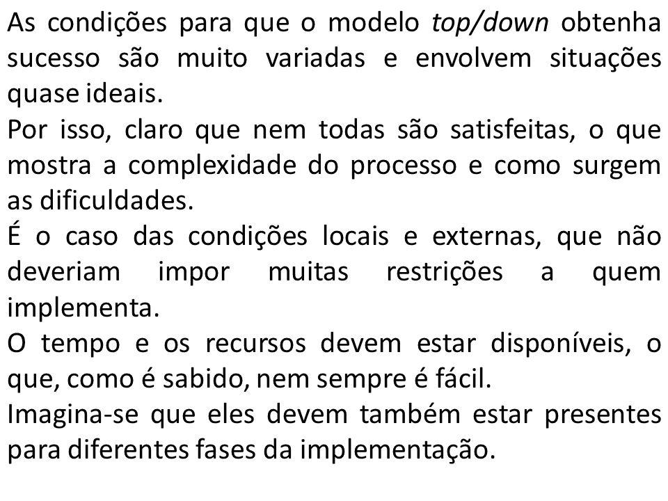 As condições para que o modelo top/down obtenha sucesso são muito variadas e envolvem situações quase ideais. Por isso, claro que nem todas são satisf