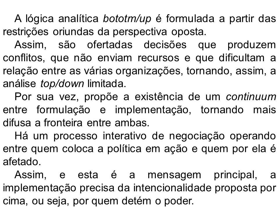 A lógica analítica bototm/up é formulada a partir das restrições oriundas da perspectiva oposta. Assim, são ofertadas decisões que produzem conflitos,