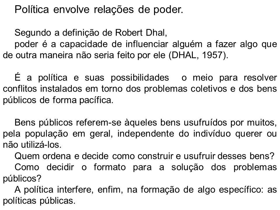 Política envolve relações de poder. Segundo a definição de Robert Dhal, poder é a capacidade de influenciar alguém a fazer algo que de outra maneira n