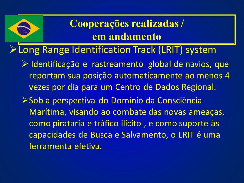 Long Range Identification Track (LRIT) system Identificação e rastreamento global de navios, que reportam sua posição automaticamente ao menos 4 vezes