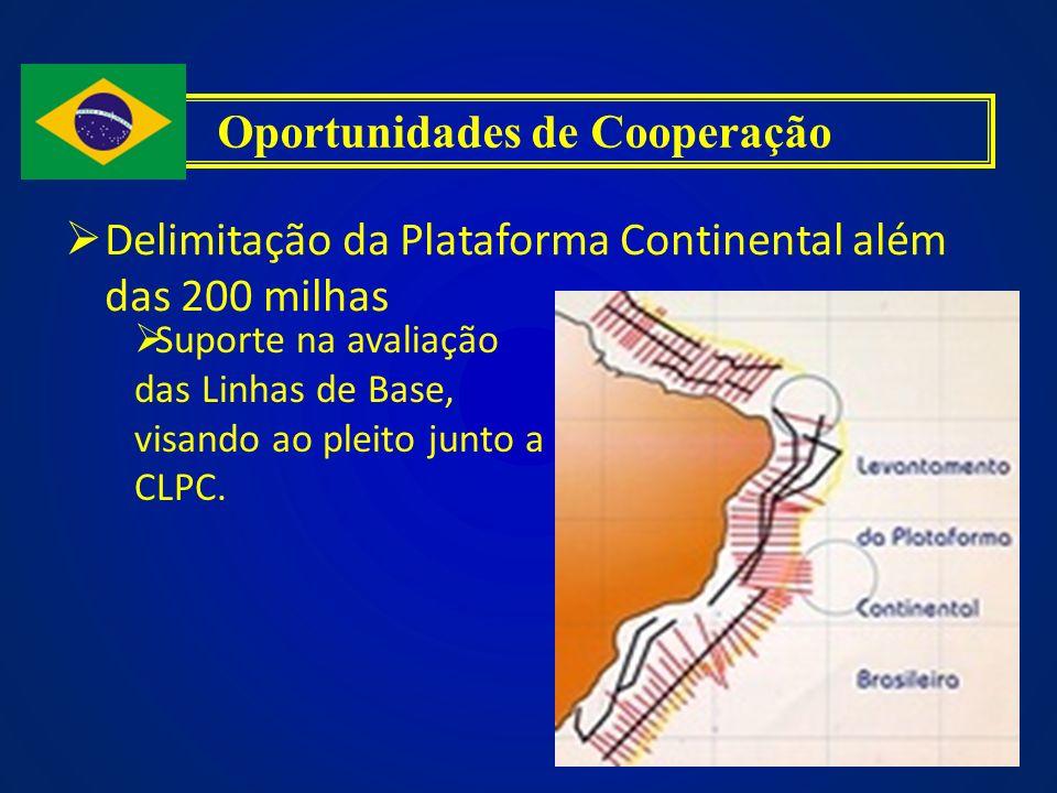 Delimitação da Plataforma Continental além das 200 milhas Oportunidades de Cooperação Suporte na avaliação das Linhas de Base, visando ao pleito junto