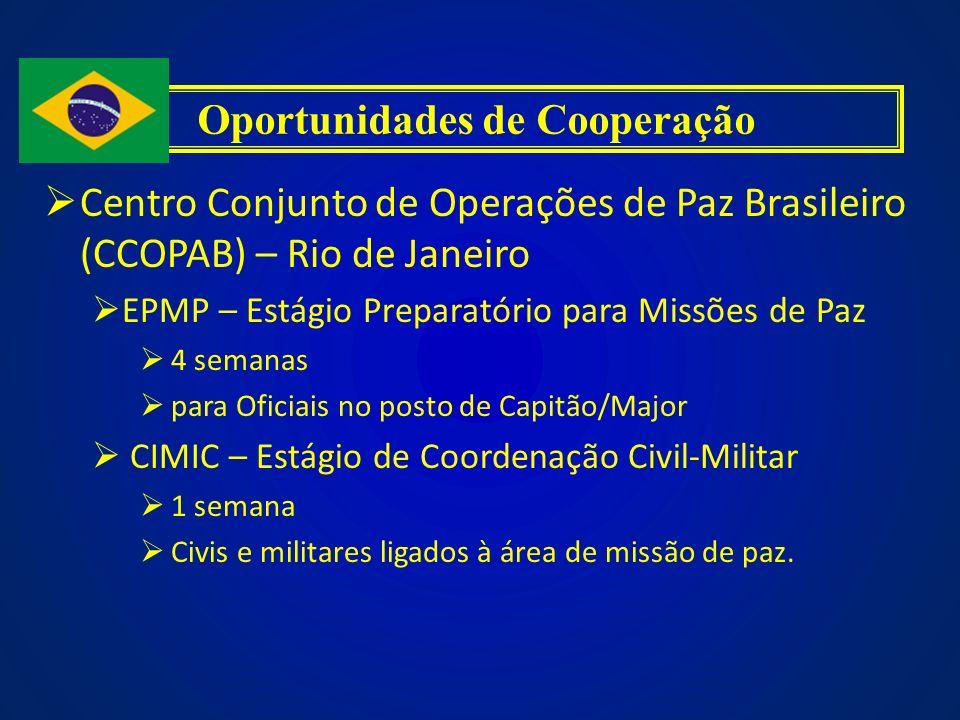Centro Conjunto de Operações de Paz Brasileiro (CCOPAB) – Rio de Janeiro EPMP – Estágio Preparatório para Missões de Paz 4 semanas para Oficiais no po