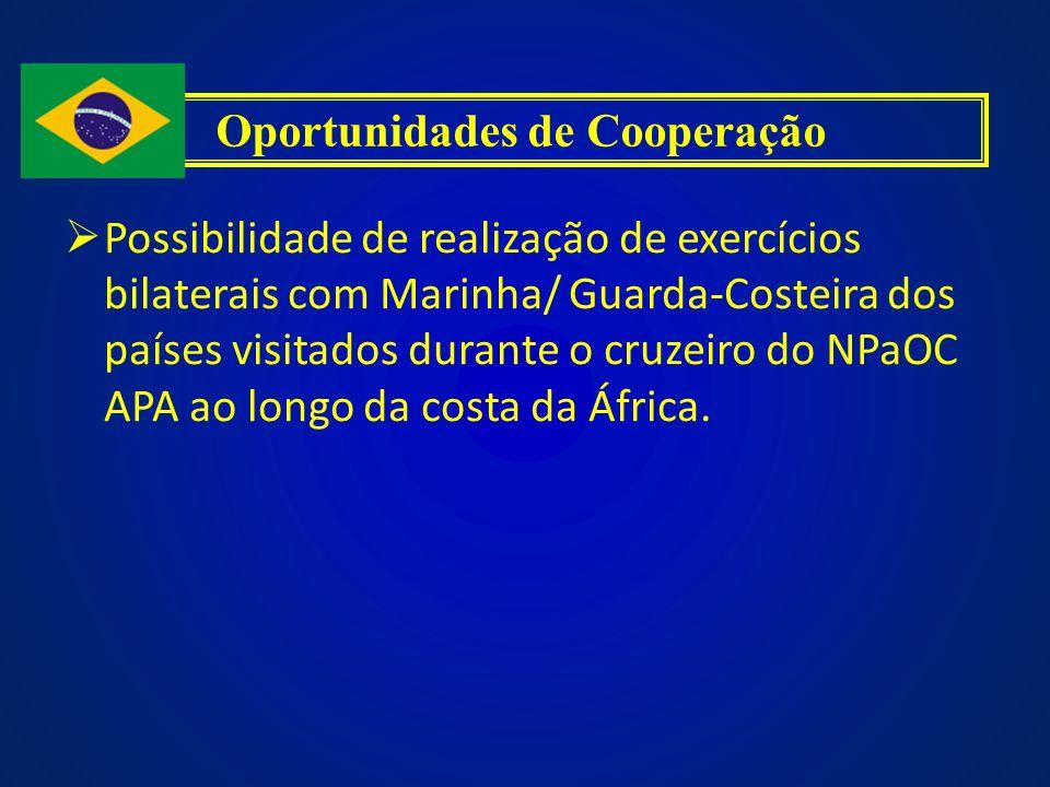Possibilidade de realização de exercícios bilaterais com Marinha/ Guarda-Costeira dos países visitados durante o cruzeiro do NPaOC APA ao longo da cos