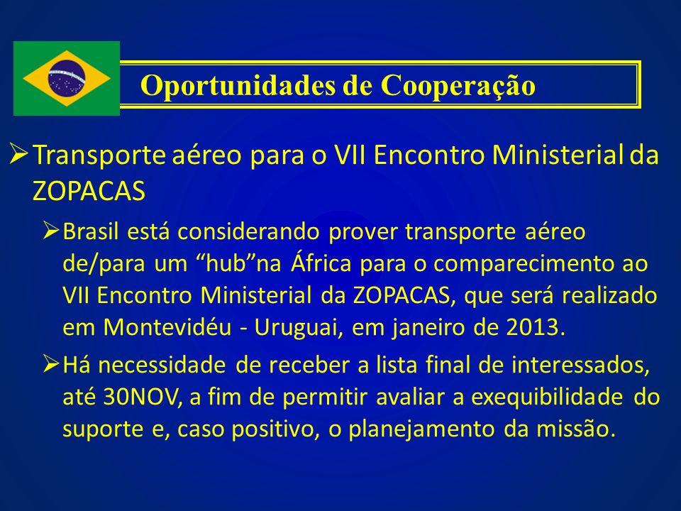 Transporte aéreo para o VII Encontro Ministerial da ZOPACAS Brasil está considerando prover transporte aéreo de/para um hubna África para o comparecim