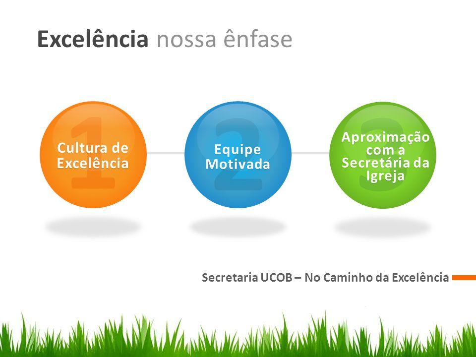 Excelência nossa ênfase Secretaria UCOB – No Caminho da Excelência 1 Cultura de Excelência 2 Equipe Motivada 3 Aproximação com a Secretária da Igreja