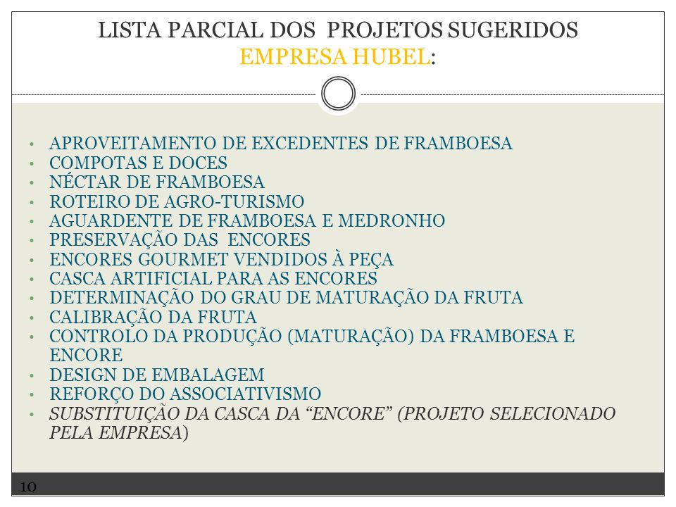 LISTA PARCIAL DOS PROJETOS SUGERIDOS EMPRESA HUBEL: APROVEITAMENTO DE EXCEDENTES DE FRAMBOESA COMPOTAS E DOCES NÉCTAR DE FRAMBOESA ROTEIRO DE AGRO-TUR