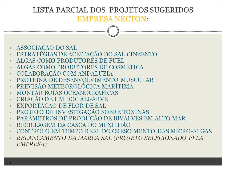 LISTA PARCIAL DOS PROJETOS SUGERIDOS EMPRESA NECTON: ASSOCIAÇÃO DO SAL ESTRATÉGIAS DE ACEITAÇÃO DO SAL CINZENTO ALGAS COMO PRODUTORES DE FUEL ALGAS COMO PRODUTORES DE COSMÉTICA COLABORAÇÃO COM ANDALUZIA PROTEÍNA DE DESENVOLVIMENTO MUSCULAR PREVISÃO METEOROLÓGICA MARÍTIMA MONTAR BOIAS OCEANOGRÁFICAS CRIAÇÃO DE UM DOC ALGARVE EXPORTAÇÃO DE FLOR DE SAL PROJETO DE INVESTIGAÇÃO SOBRE TOXINAS PARÂMETROS DE PRODUÇÃO DE BIVALVES EM ALTO MAR RECICLAGEM DA CASCA DO MEXILHÃO CONTROLO EM TEMPO REAL DO CRESCIMENTO DAS MICRO-ALGAS RELANÇAMENTO DA MARCA SAL (PROJETO SELECIONADO PELA EMPRESA) 11