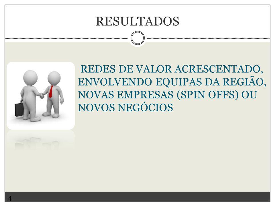 REDES DE VALOR ACRESCENTADO, ENVOLVENDO EQUIPAS DA REGIÃO, NOVAS EMPRESAS (SPIN OFFS) OU NOVOS NEGÓCIOS 4 RESULTADOS