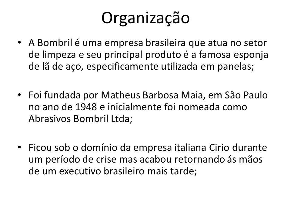 Organização A Bombril é uma empresa brasileira que atua no setor de limpeza e seu principal produto é a famosa esponja de lã de aço, especificamente u