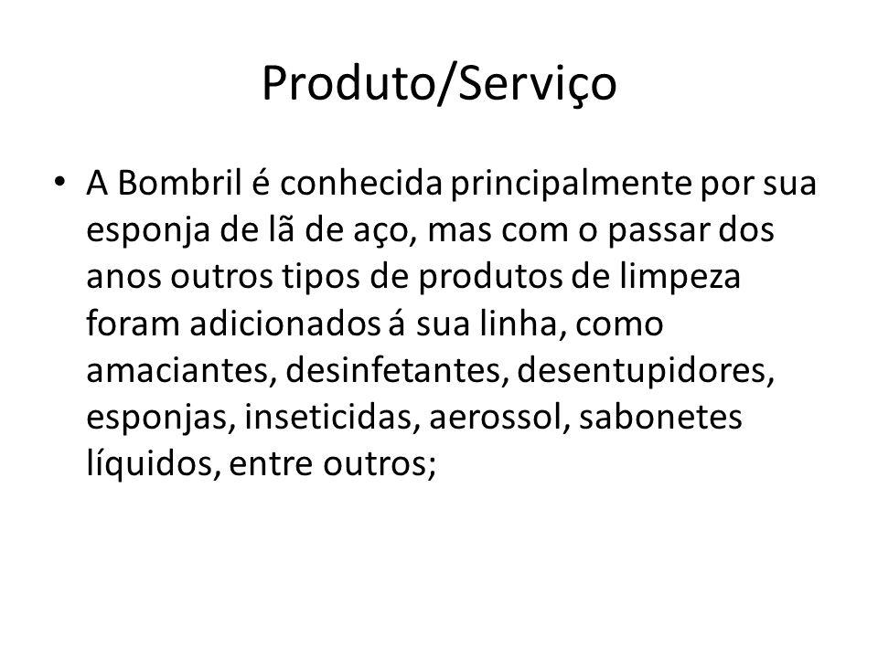 Produto/Serviço A Bombril é conhecida principalmente por sua esponja de lã de aço, mas com o passar dos anos outros tipos de produtos de limpeza foram