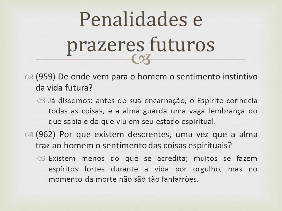 (959) De onde vem para o homem o sentimento instintivo da vida futura? Já dissemos: antes de sua encarnação, o Espírito conhecia todas as coisas, e a