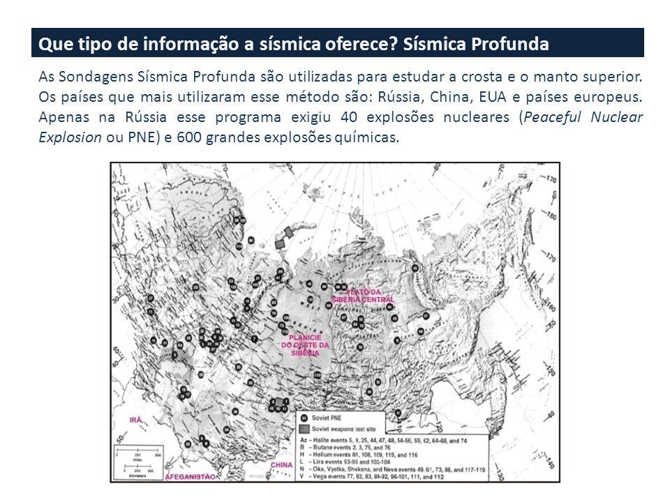 Que tipo de informação a sísmica oferece? Sísmica Profunda As Sondagens Sísmica Profunda são utilizadas para estudar a crosta e o manto superior. Os p