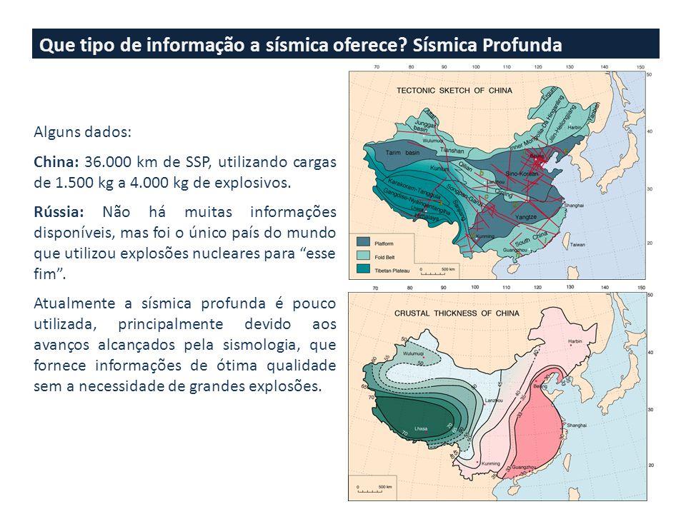 Que tipo de informação a sísmica oferece? Sísmica Profunda Alguns dados: China: 36.000 km de SSP, utilizando cargas de 1.500 kg a 4.000 kg de explosiv