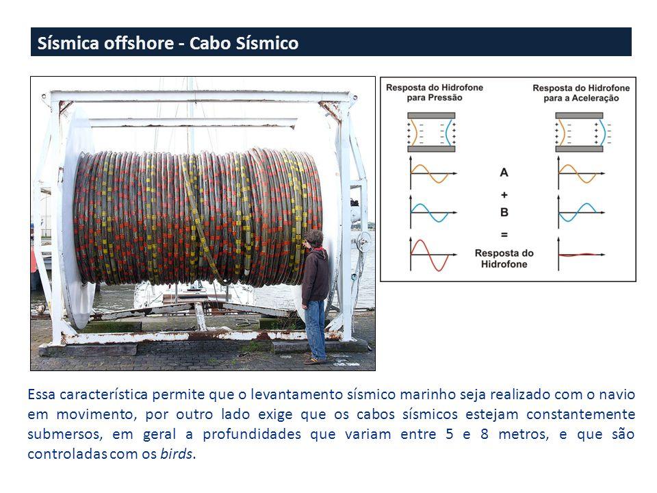 Sísmica offshore - Cabo Sísmico Essa característica permite que o levantamento sísmico marinho seja realizado com o navio em movimento, por outro lado