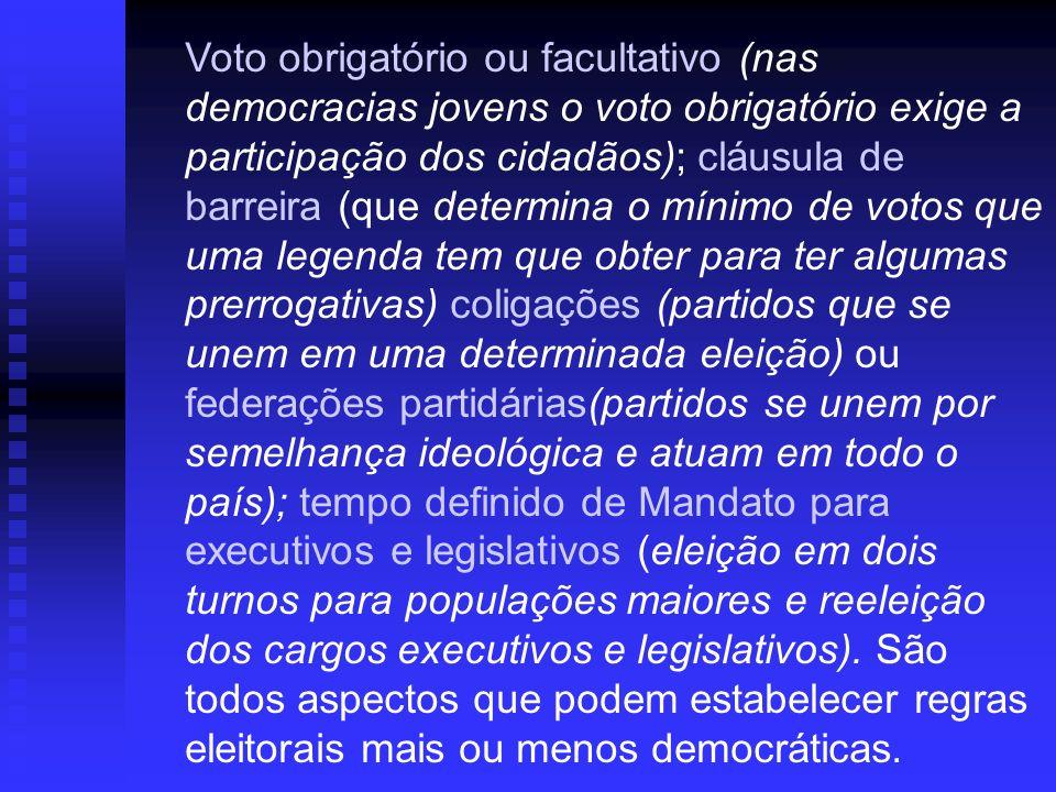Voto obrigatório ou facultativo (nas democracias jovens o voto obrigatório exige a participação dos cidadãos); cláusula de barreira (que determina o m