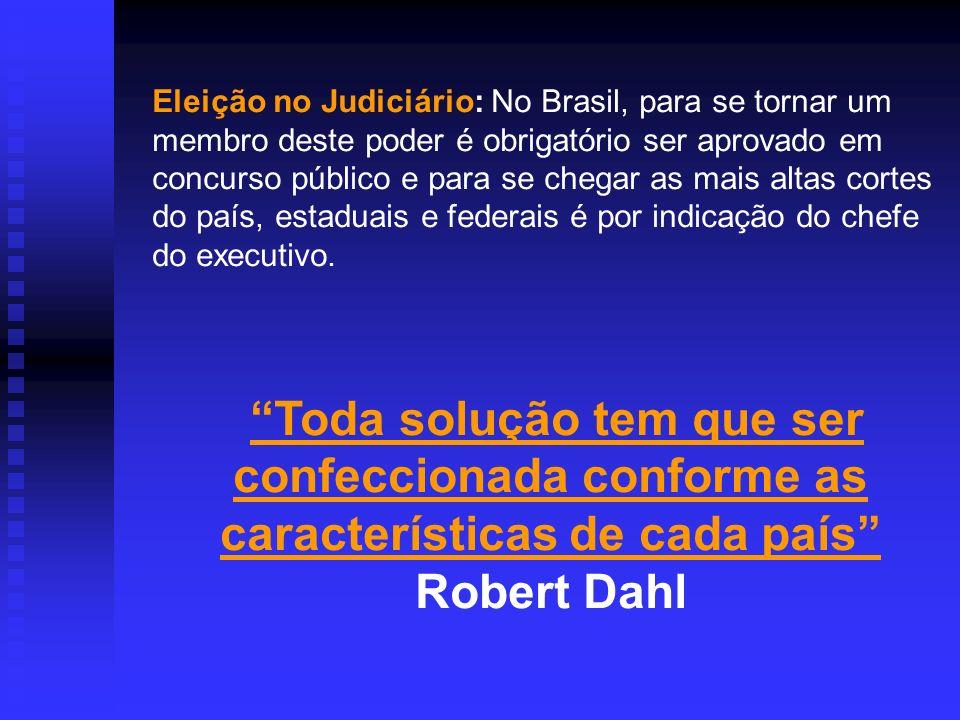 Eleição no Judiciário: No Brasil, para se tornar um membro deste poder é obrigatório ser aprovado em concurso público e para se chegar as mais altas c