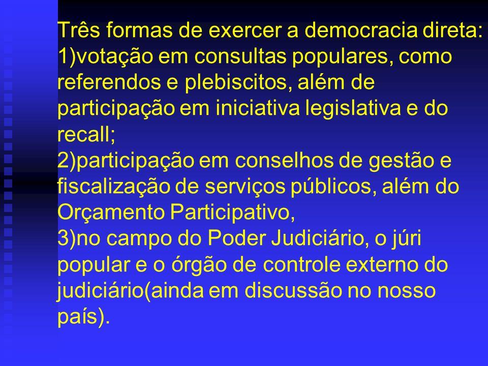 Três formas de exercer a democracia direta: 1)votação em consultas populares, como referendos e plebiscitos, além de participação em iniciativa legisl